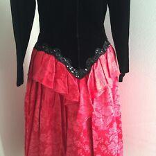 Vintage 80s Prom Dress Scott McClintock 8 S M  Peplum Black Red Costume Cosplay