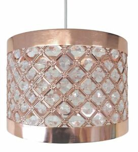 ROSE GOLD Contemporary Ceiling Light Shade Fitting Crystal Pendant Lamp Bedroom