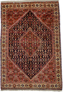 Geometric Tribal Design Small 4X6 Area Rug Oriental Hand Knotted Vintage Carpet