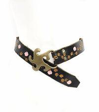 Vintage Vtg 1960s 60s Handpainted Boho Leather Belt with Bronze Belt Buckle