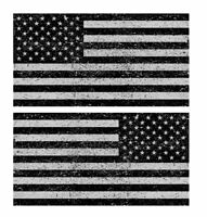 Distressed American Flag Sticker Decal Subdued USA Grunge Black And Gray 4""