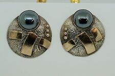 CAROLINE STRIEB 14K YELLOW GOLD, SILVER AND HEMATITE EARRINGS, SIGNED