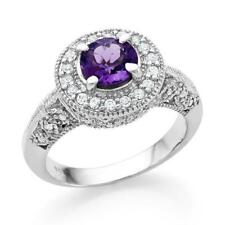 PURPLE AMETHYST &  WHITE SAPPHIRE STERLING SILVER RING SIZE 7.5