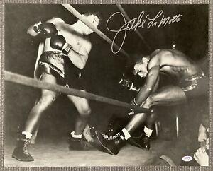 Jake LaMotta Signed Photo 16x20 Boxing Autograph Sugar Robinson Knockout PSA/DNA