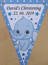 Personalised Cute Elephant Boy bunting / Birthday/ Christening / Baby Shower