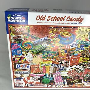 White Mountain Old School Candy 550 Piece Puzzle 18x24 Complete Vintage Fun