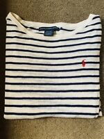 Ralph Lauren Vintage Womens Navy Striped Sailing Sweater Pre Owned XL