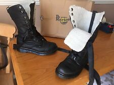 Dr Martens 1914 black shearling triumph leather boots UK 6 EU 39 punk goth biker