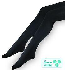 Thermo-Strumpfhosen 2er Pack für Damen mit Fleece Mikrofaser schwarz Winter!