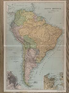1907 South America Original Antique Map by G.W. Bacon 114 Years Old