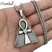 MENDEL Mens Stainless Steel CZ Egyptian Pyramid Ankh Cross Pendant Necklace Men
