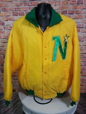 Vintage Minnesota North Stars NHL Hockey Snap Satin Jacket Mens Size XL Yellow