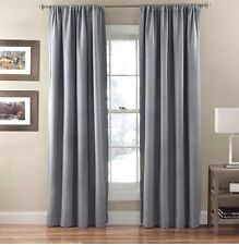 2 Eclipse Curtains 50x84 Corsica Crushed Microfiber Smokey Blue New Black Out