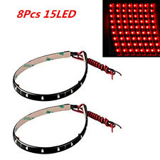 Car Interior Atmosphere Lamp Footwell Floor Light 8Pcs Red  Super Bright 15 LED