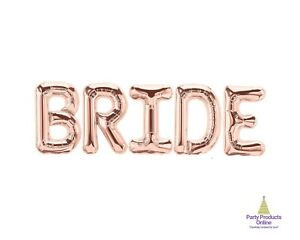 BRIDE Letter Balloon Banner - Gold, Rose Gold and Silver Wedding Decorations