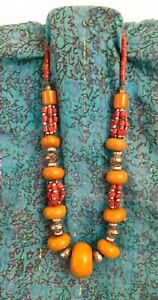 vintage  Moroccan Berber Touareg Trade 'amber' copal beads necklace red beads