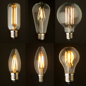 Industrial Dimmable LED Filament Light Bulbs Glass Candle Globe E14 E27 B15 B22