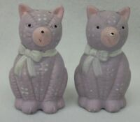 Purple Spotted Cats Kittens Salt Pepper Shaker Set