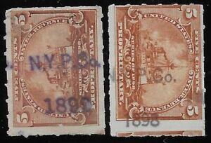 2 TYPES NY PHARMACAL CO HANDSTAMP CANCELS RB31 1898 Battleship Revenue Stamps