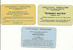 rare 1925 COLONIAL THEATRE BELFAST MAINE 3 TICKET PASS SCHEDULE SILENT MOVIE