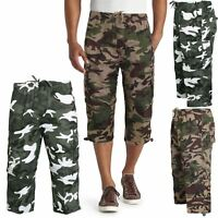 Mens Elasticated 3/4 To Shorts 2 in 1 Zip Off Cargo Combat Pants Camo Bottoms
