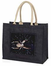 Spider on His Dew Drop Web Craft Large Black Shopping Bag Christmas Pr, I-SP1BLB