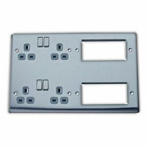 BG Nexus NBS222EM8G Combination Plate Brushed Steel 2 x 2 Gang + 2 x 4 Module