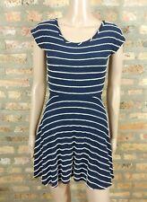Modcloth Navy Blue White Scalloped Stripe Fit & Flare Skater Jersey Shirt Dress