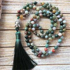 6mm Indian Agate 108 Beads Tibetan Buddha Beads Tassel Necklace Mala Religious