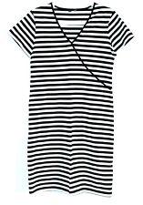 Original Marimekko Short Sleeve Striped Dress Black White Size S Made In Finland