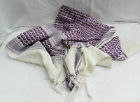 Purple and White 100% Heavy Cotton Arab / Arabic Style Scarf - Large - BNIB