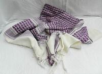 Purple and White 100% Heavy Cotton Arab / Arabic Style Scarf - Large - BNIB