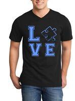 Blue Love Puzzle Piece Men V-Neck Autism Awareness Month Shirts