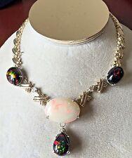 Jumbo 63.21ct Ethiopian Harlequin, Black welo Opal Diamond 14k gold Necklace