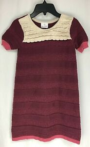 Hanna Andersson Girl 130 ( 9 years) Cotton Short Sleeve Knit Sweater Dress Pink