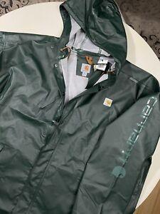 NWT CARHARTT PVC BELFAST COAT RAIN JACKET GREEN MENS 2XL TALL WATERPROOF