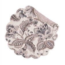 AURELIA Quilted Reversible Round Placemat by C&F - Charcoal, Grays, Taupe, Ivory