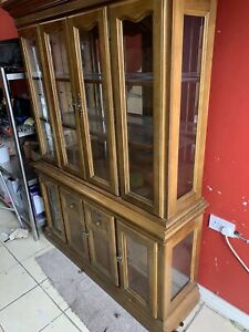 Vintage Antique Dresser Display Cabinet Sideboard Cupboards Drawers Lockable Key