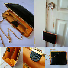 Vintage ~ ETRA Black Leather Gold Chain Strap Small Clutch Purse Evening Wedding