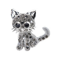 Cute Little Cat Brooches Pin Antique Silver Plated Coat Shirt Clips Fashion WC