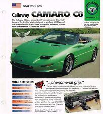 Chevy CALLAWAY CAMARO C8 / C-8 IMP Brochure: 1994,1995,1996