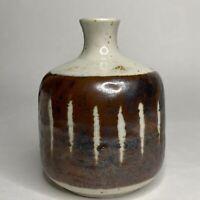 Vintage Ceramic Stoneware Art Pottery Vase Mid Century Modern Speckled Weed Pot