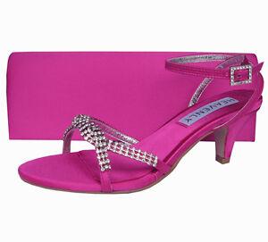 Ladies Wedding Party Heel Shoe Evening Sandal Diamante Fuchsia Pink Satin NEW