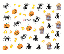 Nail Art Stickers 3D Transfers Decals Halloween Spiders Pumpkins (E065)