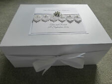 Luxury Large Wedding Keepsake Box Personalised Memory Box Ivory Pearl Diamante