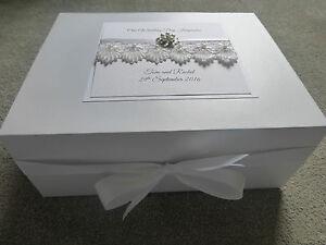 Extra Large 40x30cm Personalised Wedding Keepsake Box Luxury lace diamante pearl