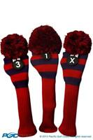 Tour 1 3 X Driver Fairway Wood Red & Blue Golf Headcover Knit Pom Pom Cover