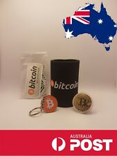 Bitcoin Cryptocurrency Bundle - Can Cooler + Coin + Keychain + Sticker Pack