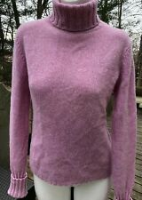 Folio New York 100% Cashmere Sweater Top Thick Heavy Turtleneck Pink & Cream  M