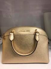 Authentic Michael Kors 35H7MY3S1M Small Dome Pale Gold Leather Satchel Bag
